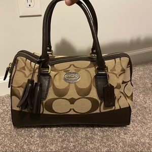 Brown leather coach tote purse